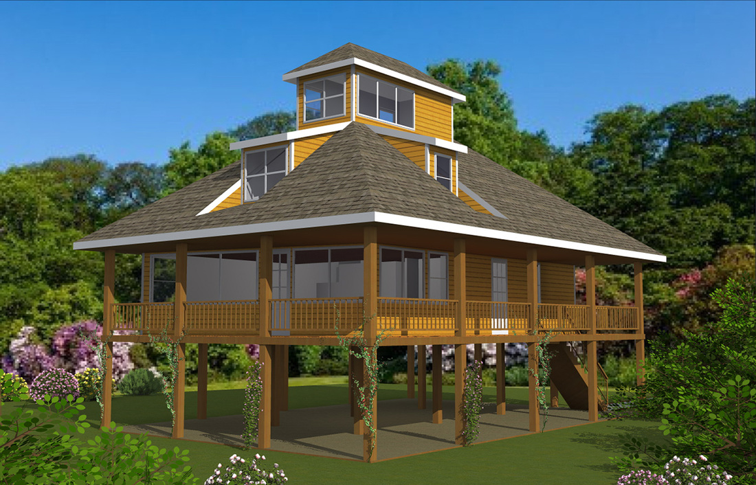 Pedestal piling homes cbi kit homes for Stilt home plans